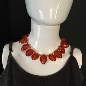 Vintage Honey Lucite Amber Statement Necklace